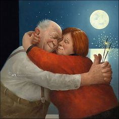 Full Love - Marius van Dokkum, Dutch Artist and Illustrator Photo Humour, Growing Old Together, Old Folks, Dutch Painters, Dutch Artists, Naive Art, Figure Painting, Getting Old, Contemporary Artists