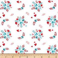 Riley Blake Vintage Market Jersey Knit Floral White