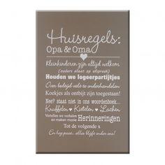 Tekstbord huisregels Opa & Oma op taupekleurig achtergrond - 40 x 60 cm Welke.nl