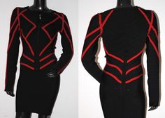 High quality Red & Black Biker Style Bandage Jacket as worn by various Celebrities.