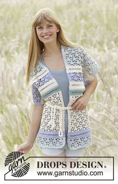 Spring Lullaby vest with lace pattern by DROPS Design Free #crochet pattern