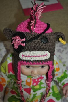 So cute!! Addy needs this for next winter! Crochet Sock Monkey Pirate. $35.00, via Etsy.