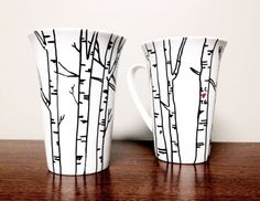 DIY mug w/sharpie paint pen. Use pattern idea for edges of white plates.