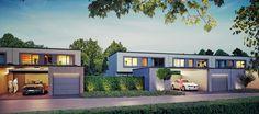 DIE LICHTUNG – Blick auf die erleuchtete Luminade und die beiden Architektur- und Fassadenstile Avantgarde und Klassik.