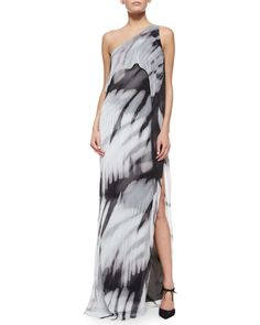 "Halston Heritage  One-Shoulder Tie-Dye Long Caftan Dress Halston Heritage tie-dye georgette caftan. Approx. measurements: 57.8""L center back to hem. One-shoulder strapless neckline. Draped overlay cascades to thigh. Thigh-high slit over left leg; 35""L. Polyester; self lining."
