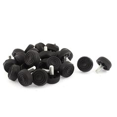 """uxcell Furniture Screw On Type Glide Leveling Foot M8x20mm Thread 30PCS. Color: Silver Tone, Black; Total Size: 30x30mm/1.2""""x1.2""""(Max.D*H); Material: Metal, Plastic. Net Weight: 372g; Package Content: 30 x Leveling Foot; Product Name: Leveling Foot. Type: Screw On; Total Height: 30mm/1.2"""". Thread Size: M8x20mm/0.3""""x0.8""""(D*L); Holes Number: 8. Base Size: 30 x 11mm/1.2""""x0.4""""(Max.D*T); Hole Diameter: 5mm/0.2""""."""