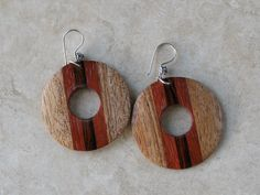 Wooden earrings [Laminated; I would most likely offset the lamination; perhaps heart-shaped rather than circular center?]