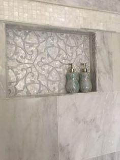 Adair Mother of Pearl & Marble Tile Bathroom Niche, Bathroom Red, Large Bathrooms, Bathroom Ideas, Bathroom Renovations, Downstairs Bathroom, Spa Master Bathroom, Tile Shower Niche, Master Shower
