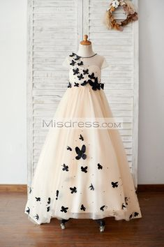259704cc1e2 Champagne Tulle Cap Sleeves Wedding Flower Girl Dress with Black  Butterflies SKU  K1003884 Buy Now