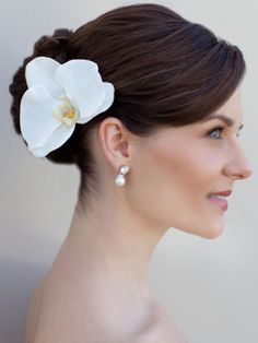 Orchid Hair Flower in White or Green by Hair Comes the Bride