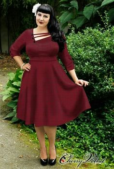 Cherry Velvet Shelly Dress Red Houndstooth - Plus Size - Curvy Fashion - Bold - Unique - Renegade