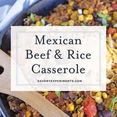 Mexican Beef and Rice Casserole is an easy weeknight recipe using ground beef, taco seasoning and other easy ingredients for a one dish meal! Ground Beef And Cabbage, Ground Beef And Potatoes, Ground Beef Tacos, Beef And Rice, Ground Beef Casserole, Rice Casserole, Casserole Recipes, Cabbage Recipes, Mexican Food Recipes