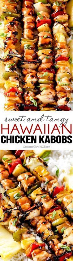 Grilled (or broiled) Hawaiian Chicken Kabobs - this is my new favorite grill recipe! the chicken is so juicy and flavorful and the sweet and tangy Hawaiian Sauce (that doubles as a marinade) is out of (Grilling Recipes Kabobs) Chicken Kabob Recipes, Turkey Recipes, Chicken Kabob Marinade, Chicken Cabobs, Chicken Ideas, Recipes Dinner, Breakfast Recipes, Hawaiian Chicken Kabobs, Honey Chicken Kabobs