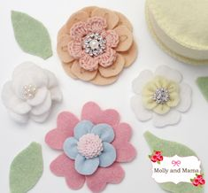 Embellished Felt Flowers by Molly and Mama