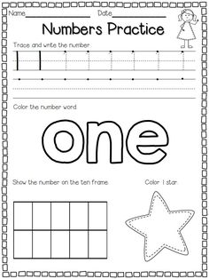 Flying into First Grade: Numbers Practice FREEBIE! Morning work the first couple weeks? Teaching Numbers, Numbers Kindergarten, Numbers Preschool, Preschool Classroom, Preschool Learning, Teaching Math, Envision Math Kindergarten, Teaching Resources, Kindergarten Addition