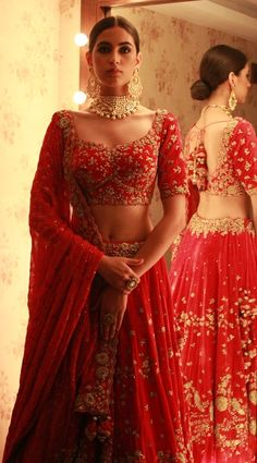 Looking for Bright Red Bridal Lehenga with Simple Gold Zardozi Work? Browse of latest bridal photos, lehenga & jewelry designs, decor ideas, etc. on WedMeGood Gallery. Indian Bridal Outfits, Indian Bridal Lehenga, Indian Bridal Wear, Indian Dresses, Bridal Dresses, Lehenga Wedding Bridal, Indian Wedding Dresses, Sabyasachi Lehenga Bridal, Lehenga Blouse