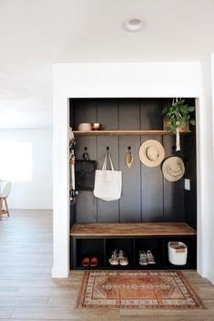 Home Renovation, Home Remodeling, Closet Transformation, Entry Closet, Closet Mudroom, Closet Nook, Muebles Shabby Chic, Ideias Diy, Home Projects