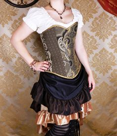 Victorian Patchwork Sweetheart Neckline Overbust Corset - Deluxe - Black, Brown, Pewter, & Antique Gold -- Custom Made in Your Size