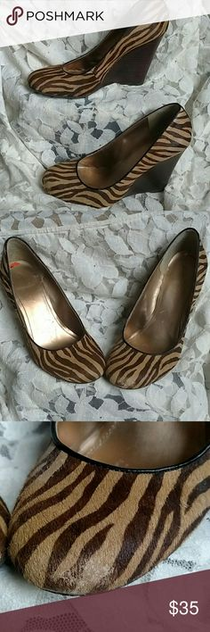 7c8b3302fd25 Bcbg hair tiger stripe patter wedges Adorable and comfortable wedges with  tiger stripe brown and tan