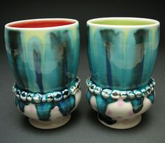 Thrown cups. Note that you could throw these in two pieces if necessary. Also note that the decorative elements are. . . teeth.