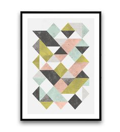 Triangles abstract print, Geometric poster, Watercolor abstract, Minimalist poster, wall art, modern art, office decor, mid century art Dimensions