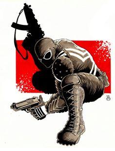 Venom, Flash Thompson by Dave Myers Secret Avengers, Iron Man Avengers, Marvel Art, Marvel Heroes, Marvel Comics, Marvel Villains, Marvel Characters, Spiderman Girl, Venom Art