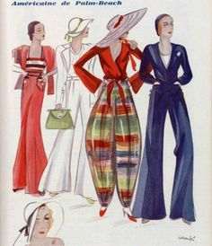 Designs by Jeanne Lanvin, Jean Patou, Elsa Schiaparelli and Suzanne Talbot. Yes, I squealed when I found this. Jeanne Lanvin, 1930s Fashion, Retro Fashion, Vintage Fashion, Womens Fashion, Madame Gres, Elsa Schiaparelli, Fashion Illustration Vintage, Illustration Mode