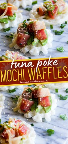 Create a little taste of aloha in your kitchen! These fun appetizers are delicious, nutritious, and super refreshing. Waffles are topped with tuna and poke which creates a wonderful savory bite-sized snack! Its the perfect party finger food. Pin this crowd-pleasing appetizer! Easy Holiday Recipes, Easy Dinner Recipes, Fall Recipes, Fun Appetizers, Appetizer Recipes, Tuna Poke, Party Finger Foods, Tasty, Yummy Food