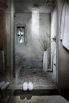 Concrete and pebble stone shower in a loft bathroom (via Delancey Street Loft) Concrete and pebble stone shower in a loft bathroom (via Delancey Street Loft) Loft Bathroom, Chic Bathrooms, Dream Bathrooms, Beautiful Bathrooms, Bathroom Interior, Modern Bathroom, Small Bathroom, Rain Shower Bathroom, Roman Bathroom