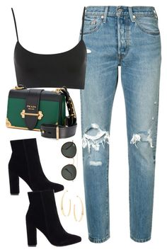 """""""Untitled #4120"""" by magsmccray ❤ liked on Polyvore featuring Levi's, Prada, Ray-Ban and Lana"""