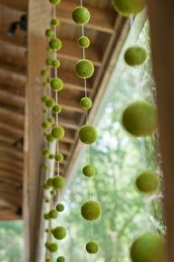 elegant outdoor baby shower for twins  moss ball dripping decor
