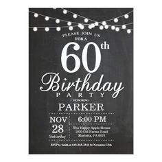 60th Birthday Invitation Chalkboard String Lights