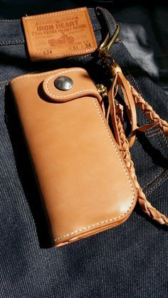 Handmade Tan Leather Long Wallet with vintage 5 cent ( Redmoon style , rider's wallet )