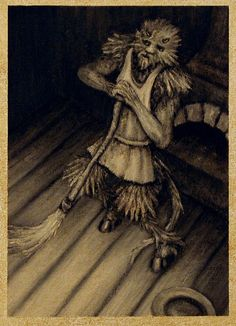 Lubber fiend- english folklore: a large hairy man-like creature with a tail that would do house work such as sweeping in exchange for a saucer of milk and a place to sleep by the fire