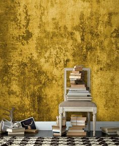 For staircase wall Yellow grunge wall mural Faux Painting, Texture Painting, Photo Wallpaper, Wall Wallpaper, Mural Art, Wall Murals, Venetian Plaster Walls, Drawing Room Interior, World Decor