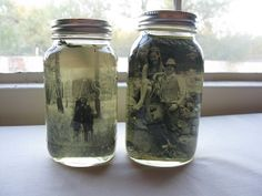 DIY: vintage pictures and mason jars for centerpieces Mason Jar Projects, Mason Jar Crafts, Mason Jar Diy, Diy Projects, Konservierung Von Lebensmitteln, Mondrian Kunst, Transférer Des Photos, Mason Jar Picture, Pot Mason