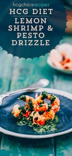 135 calories - Phase 2 hCG Diet Seafood Recipe: Lemon Shrimp Pesto Drizzle - hcgchicarecipes.com - protein meal #hcg #hcgdiet #hcgrecipes #hcgdietrecipes #p2hcgrecipes #phase2hcgrecipes #p2hcgdiet #phase2hcgdiet