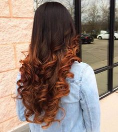 Copper Balayage Highlights on Long Hair