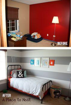 Big Boy Bedroom   #diy #beforeafter; need handprints on kid walls. great idea.