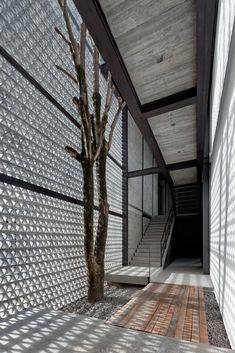 Perforated concrete walls encase La Tallera Siqueiros Gallery by Frida Escobedo in Cuernavaca.