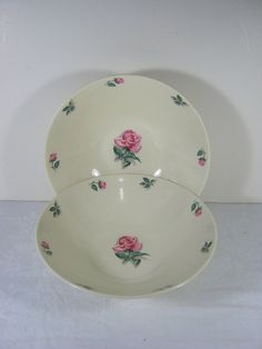 SALE  Vintage Pink Roses Serving Bowls by Knowle Set/2 by LavenderGardenCottag