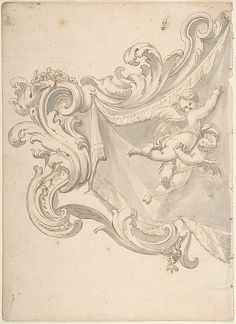 Anonymous, Italian, Piedmontese, 18th century | Design for a Crest with Drapery and Two Putti | The Met