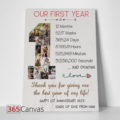 Preserve the best moments with our 1 Year Anniversary Photo Collage canvas print! Simply upload your favorite photos for the keepsake that lasts for years. Anniversary Gift Ideas For Him Boyfriend, Birthday Gifts For Boyfriend Diy, Anniversary Message, Cute Boyfriend Gifts, 1 Year Anniversary Gifts, 1st Anniversary Gifts, Anniversary Scrapbook 1 Year, Cute Anniversary Ideas, Aniversary Gift