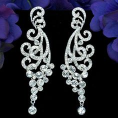 Rhodium Plated Clear Crystal Rhinestone Spindrift  Bridal Chandelier Earrings #Chandelier