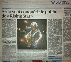 """Article - """"Arno veut conquérir le public de Rising Star"""". Le Parisien Val d'Oise, 9/10/2014."""