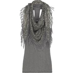Carlie scarf-detailed top ($160) ❤ liked on Polyvore featuring tops, shirts, blusas, tank tops, racerback tank, racerback shirt, fringe shirts, sequin shirt and sequin tank top