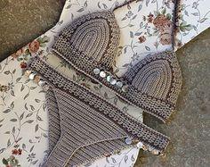 Shell Bikini crochet Triangle bikini Crochet swimwear by MarryG