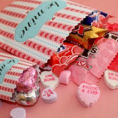 Download and print the pdf file to create fun treat bags for Valentine's Day!