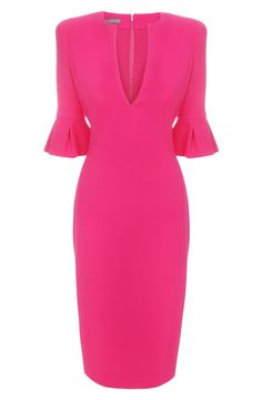 I LOVE this Pink dress! McQueen crepe wool Tulip Sleeve Pencil Dress Description Crepe wool pencil dress with deep-v neck and half tulip sleeves. Pretty Dresses, Beautiful Dresses, How To Have Style, Mode Rose, Tulip Sleeve, Ruffle Sleeve, Flutter Sleeve, Winter Typ, Business Outfit
