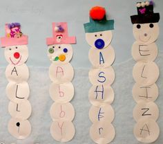 Name Snowman Preschool Craft and Free Printable Name snowmen are a fun was for preschool kids to practice their names. This name snowman preschool craft incorporates arts and crafts and literacy. Classroom Art Projects, Easy Art Projects, Daycare Crafts, Holiday Crafts, Christmas Gifts, Kid Crafts, Christmas Projects For Kids, Snow Crafts, Easy Toddler Crafts